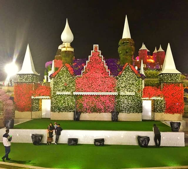 Floral Auditorium Season Six background of fortress at the Dubai Miracle Garden.