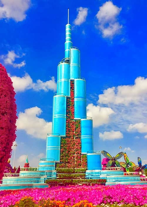 Burj Khalifa Tower is decorated with Petunia and Marigold Flowers at the Dubai Miracle Garden