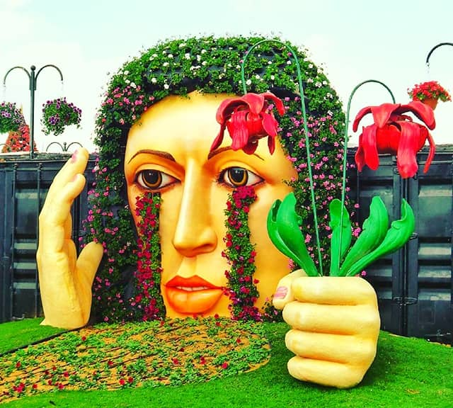 Crying Lady floral sculpture at Dubai Miracle Garden.