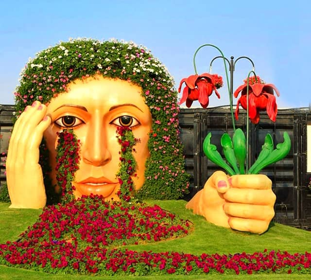 Crying Lady sculpture was first introduced at the Dubai Miracle garden in 2015.