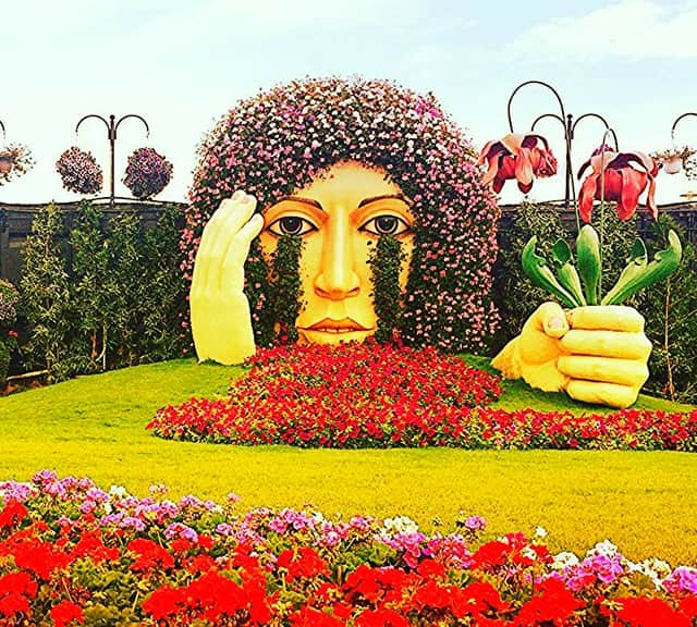 The Crying Lady sculpture at the Dubai Miracle Garden is 12 feet high and 10 feet wide.