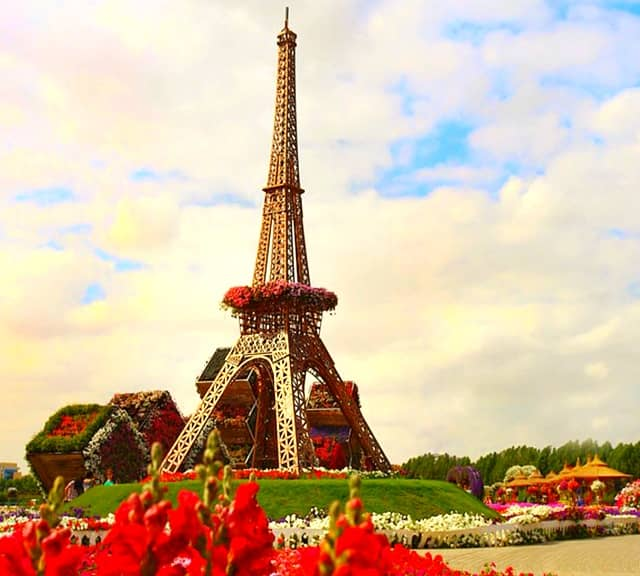 Eiffel Tower was introduced at the Dubai Miracle Garden in 2014.