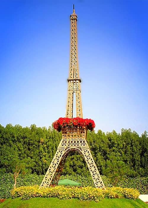 Eiffel Tower at the Dubai Miracle Garden is decorated with Petunia and Marigold flowers.