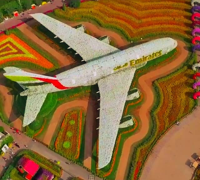 Photograph of Emirates Airbus A380 at the Dubai Miracle Garden