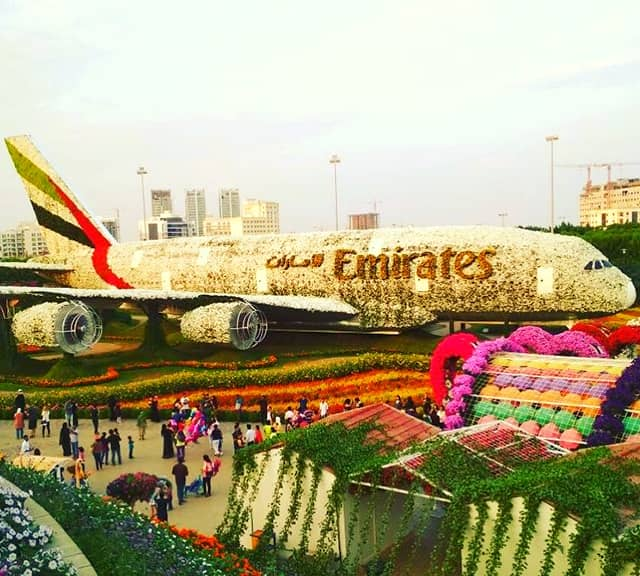 Size of Emirates Airbus A380 floral theme at the Dubai Miracle Garden