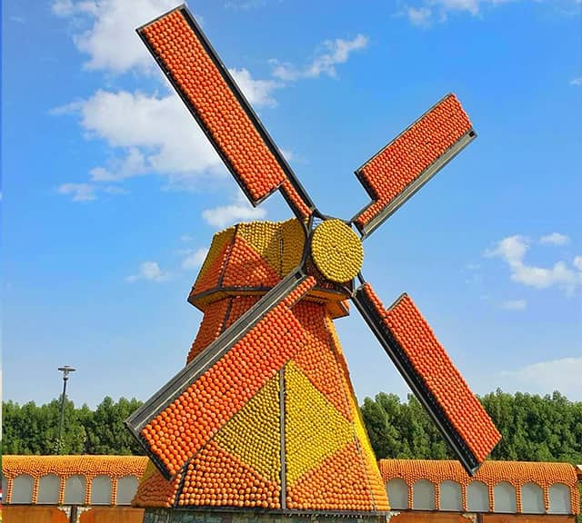 Floral Windmills structure at the Dubai Miracle Garden.