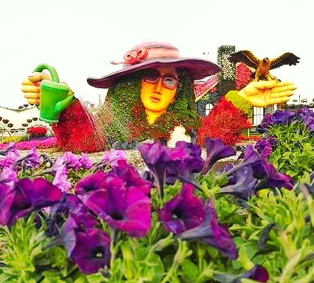 Flower Lady Sculpture at the Dubai Miracle Garden.