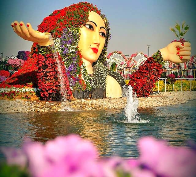 Flower Lady Sculpture Popularity at the Dubai Miracle Garden.