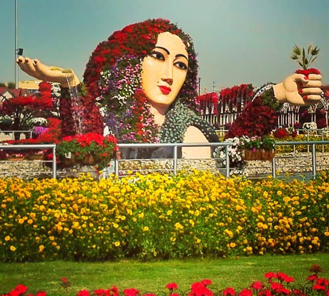 Size of the Flower lady Sculpture at the Dubai Miracle Garden.