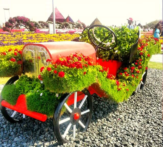 Flower decoration on Ford's Model-T Car at the Dubai Miracle Garden.