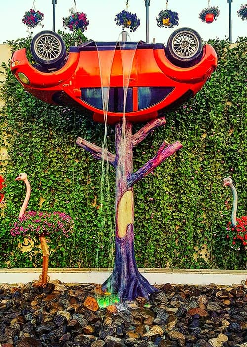 Popularity of Inverted Volkswagen Car at the Dubai Miracle Garden.