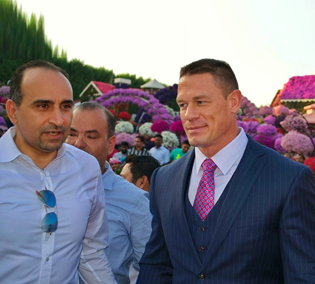 John Cena with Abdel Nasser Rahhal who is the Managing Director and Co-Founder of the Dubai Miracle Garden.