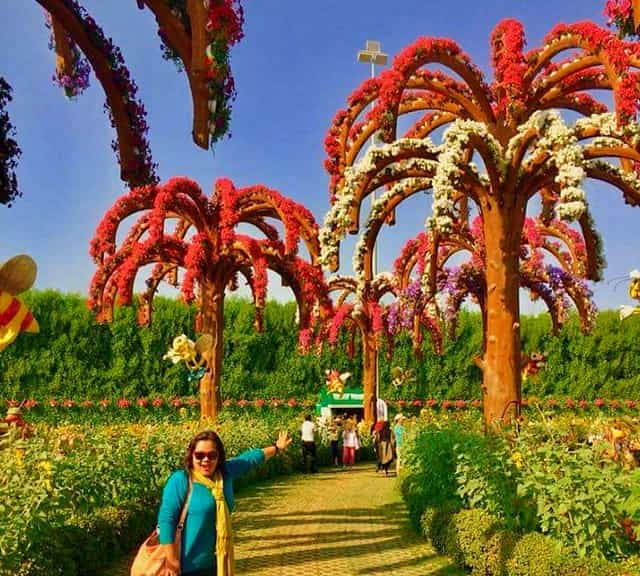 Palm Trees are decorated with Geranium flowers at the Dubai Miracle Garden