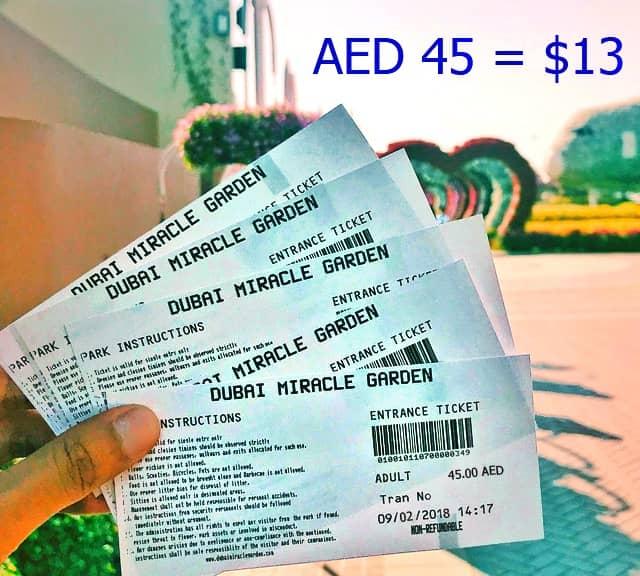 Ticket Price Of Dubai Miracle Garden